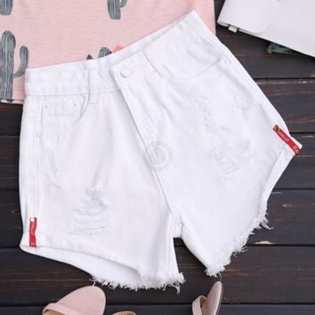 High Waist Curled Hem Ripped Denim Shorts