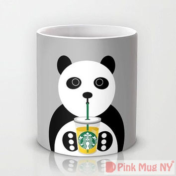 Personalized mug cup designed PinkMugNY - I love Starbucks - Panda