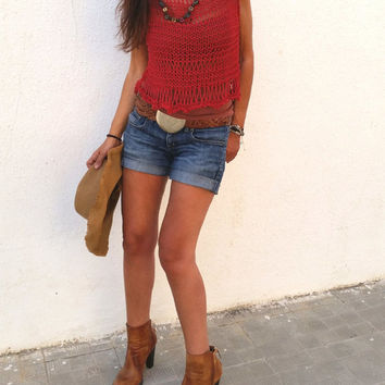 Summer knit top, knitted sweater, womens knit top, cropped knit top, red cotton sweater, crop top, beach cover up, red crop top, loose knit