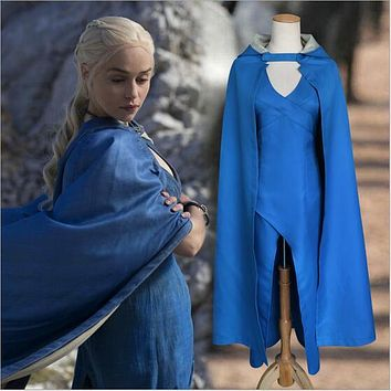 Game of Thrones Daenerys Targaryen Blue Dress Cloak Halloween Costume