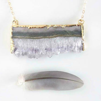 Raw Amethyst Necklace – Amethyst Slice Pendant - Raw Crystal Jewelry - Amethyst Drusy