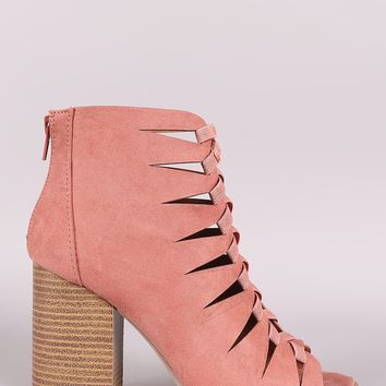 Qupid Cutout Peep Toe Booties