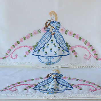Pair Hand Embroidered CUTTER Vintage Pillowcases Southern Belle Antebellum Blue and Pink Design , Vintage Bedding Shabby Chic