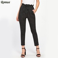 Frilled High Waist Pants Women Plaid Ruffle Drawstring Skinny Pencil Pants Fashion Pockets Work Lady Slim Grid Pants