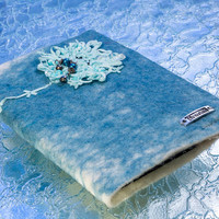 """Beaded Flower """"Dream"""" Felted notebook covers, Refillable"""