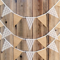 3.3M Vintage Fashion Lace Bunting Rustic Hessian Burlap Banner Wedding Christmas Party Decor [7983359943]