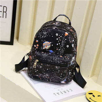 Fashion Star Universe Space Printing Backpack Black School