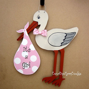 New Baby Girl Stork Door Decor  It's a girl by CarolinaMoonCrafts