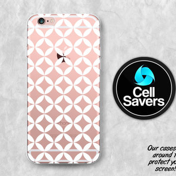 Diamond Pattern Clear Case iPhone 7 iPhone 6s iPhone 6 iPhone 6 Plus iPhone 6s + iPhone 5c iPhone 5 iPhone SE White Pattern Geometric Tumblr