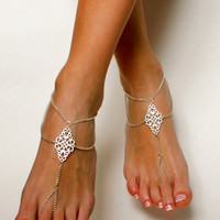 Boho Tribal Chained Barefoot Sandals