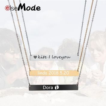ELSEMODE Family Love Bar Necklace Engraved Stainless Steel Personalized Name Necklace Nameplate - Custom Made with Any Name