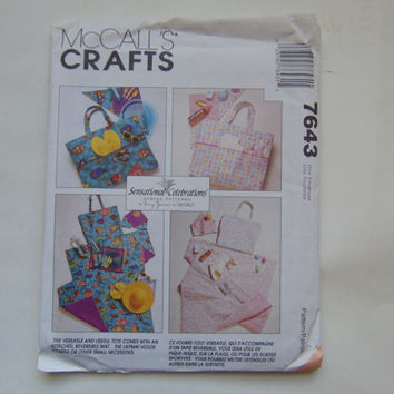 McCalls Crafts 7643 Picnic Beach Baby Tote Bag with Mats UNCUT Sewing Pattern McCall's