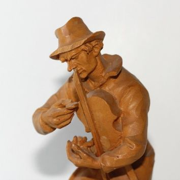 Tramp Fiddler Figurine Wood Carving | Made in Austria | Expressive Carving | Vintage Woodcarved Fiddler Hobo