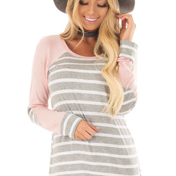Heather Grey Striped Top with Light Pink Contrast
