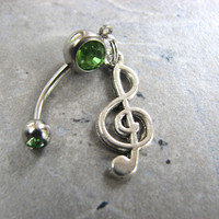 Treble Clef Belly Button Jewelry, Music Navel Piercing