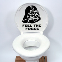 Star Wars Toilet Seat Sticker Funny cartoon Vinyl Decal Home Decor Black 4WS-0078