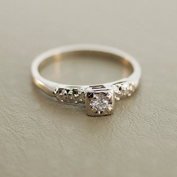 Vintage and Petite Engagement Ring 14k White Gold Diamond
