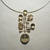 Rutilated quartz necklace in 18k yellow gold Modern Jewelry by SARANTOS