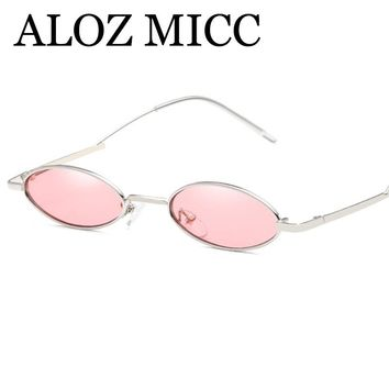 ALOZ MICC 2018 New Oval Sunglasses Women Brand Designer Unique Curved Leg Trend Women Sun Glasses UV400 Goggles Q548