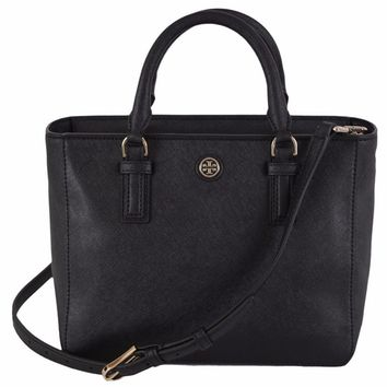 "Tory Burch 41159710 Black Saffiano Leather Robinson Mini Square Tote Purse - 9.36"" x 7.57"" x 5.38"" 