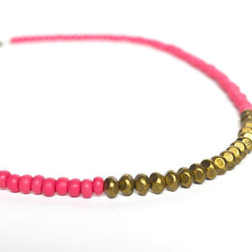 Pink Geometric Necklace, Hot Pink Beaded Necklace, Spring Jewelry, Metal and Bead Necklace, Cupcake Pink Necklace