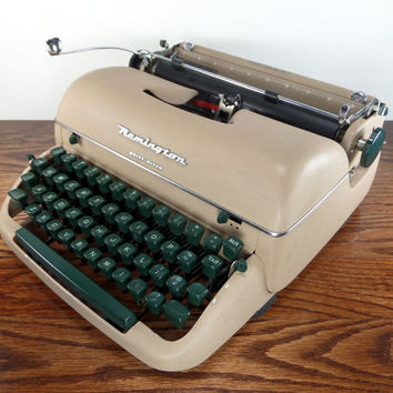 Reconditioned Remington Quiet-Riter Vintage Typewriter - Working Remington Portable Typewriter - Tan Typewriter - Excellent Condition