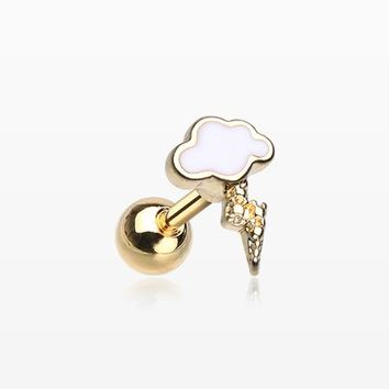 Golden Lightning Cloud Cartilage Tragus Barbell
