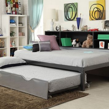 Renell collection silver and black metal twin day bed with bookcase with pull out trundle
