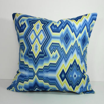 Colonial Williamsburg Decoratative Blue and Yellow Chevron Pillow Cover, Throw Cushion Cover,