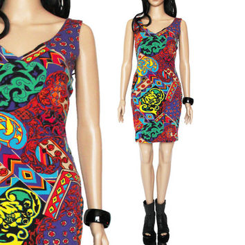 90s Betsey Johnson Colorful Bodycon Dress Abstract Short Fitted Hipster Club Kid Clothing Womens Size Medium