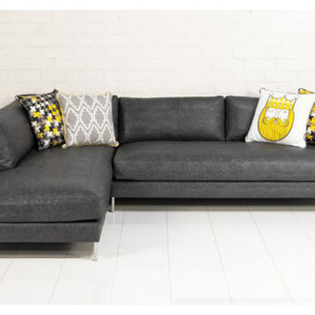 Slim Jim Sectional In Grey Faux Lizard Leather