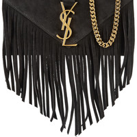 Saint Laurent - Monogramme fringed suede shoulder bag