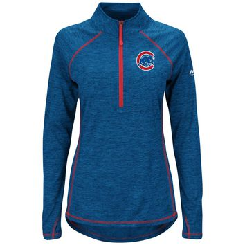 Chicago Cubs Women's Don't Stop Trying Half-Zip Pullover Jacket By Majestic