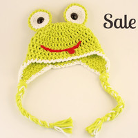 SALE Newborn froggie crochet ear flap hat /handmade crochet  photo prop/newborn photography/can be made to order in other sizes