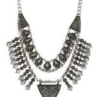 Silver Tiered Metal Statement Bib Necklace by Charlotte Russe