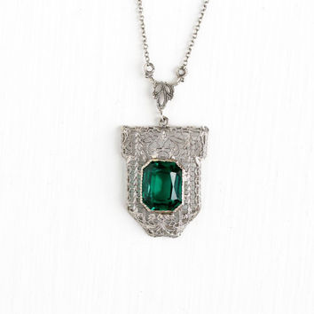 Antique Art Deco 10k White Gold Simulated Emerald Filigree Lavalier Pendant Necklace - Vintage 1920s Floral Flower Fine Green Glass Jewelry