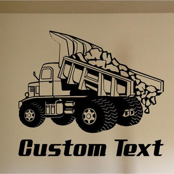 Dump Truck Construction Car Wall Decal - Auto Wall Mural - Vinyl Stickers - Boys Room Decor