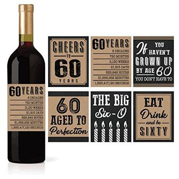 6 60th Birthday Wine or Beer Bottle Labels Stickers Present 1958 Bday Milestone Gifts For Him Man Cheers to 60 Years Vintage Sixty Funny Gag Unique Party Decorations Supplies For Men Husband Male