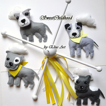Puppy Cloud Mobile, felt baby mobile, dog mobile, baby crib, animal nursery, gift for boy gray yellow grey, felt animal mobile