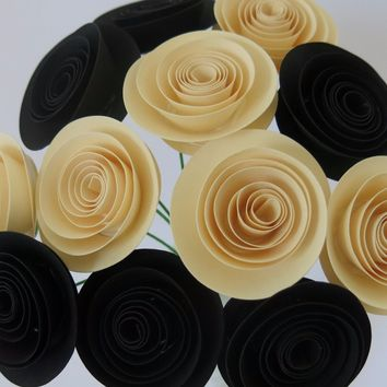 "Classy Black and Ivory paper flowers, modern wedding colors, 1.5"" rose blooms, cream floral arrangement, bridal shower centerpiece"