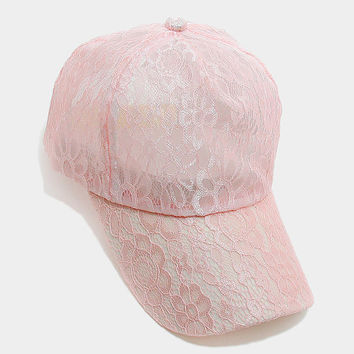 Pink Floral lace baseball cap, One Size Fits All, Unisex Gift Idea