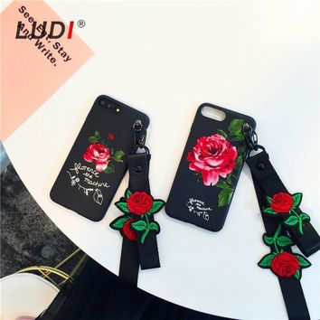 LUDI Korean 3D Red Rose Wrist & Neck Strap Case for iPhone X 8 7 7plus Soft Pro-TPU Hipster Cover for iPhone 6 6Plus 6s 6sPlus
