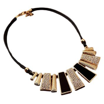 New Fashion Big Irregular Geometric Matte Glitter Necklace Collarbone Chain Pendant Statement Necklaces