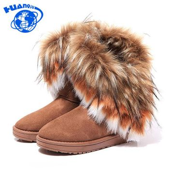 New Style Women Winter Warm Mid-Calf Boots 2015 Winter Ladies Fashion Snow Boots Flock Leather Women Fur Boot Shoes PP18