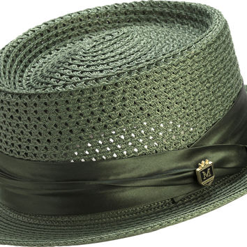 Solid Color Pork Pie Braided Mesh Hat H49 By Montique