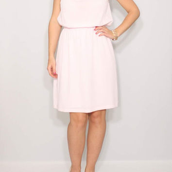 Short Pale pink Dress Bridesmaid Dress Chiffon Dress Keyhole dress Party Dress