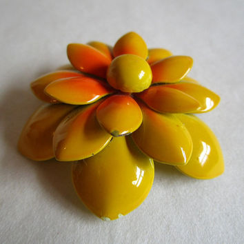 Vintage Enamel 60s Floral Brooch Yellow-Gold Orange Dahlia-Like 1960s Flower Pin