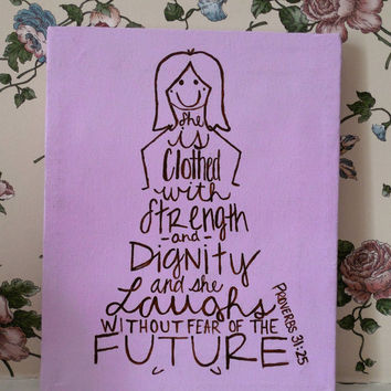 "Proverbs 31:25 Quote. Girl's Room / Nursery Decor 8""x10""x5/8"" Wall Art"