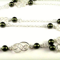 ID Badge Lanyard with Celtic Knots and Pearls