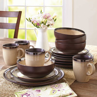 Walmart: Better Homes and Gardens 16-Piece Sierra Dinnerware Set, Beige